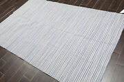 5and039x8and039 Hand Woven Wool Reversible Dhurry Flatweave Area Rug Traditional 5x8 White