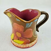 """Tracy Porter Creamer Pitcher Brown Floral Hand Painted 3"""" Tall Boho Country Chic"""