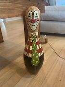 Hand Painted Bowling Pin Clown Can Use As Bookend Decoration Or Door Stopper