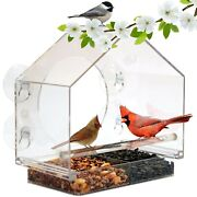 Window Bird House Feeder By Nature Anywhere With Sliding Seed Holder And 4 Extra