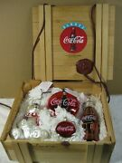 Coca-cola Polonaise Glass Ornaments - Set Of 4 In Wood Crate- Kurt Adler 1996