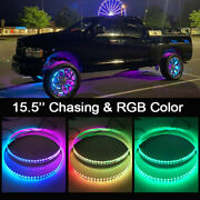 15.5and039and039 Led Wheel Lights Chasing And Rgb Color For Car And Truck Ip68 Pro Bluetooth