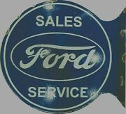 Porcelain Sales Ford Service Enamel Sign Size 18 X 17 Inches With Flange