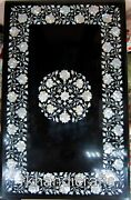 Mother Of Pearl Art Rectangle Marble Table Top Black Dining Table 30 X 48 Inches