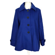 Tg Womenand039s Plus Size 24 Blue Button Front Lined Coat Jacket With Pockets New