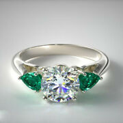 1.60 Ct Real Green Emerald Gemstone Diamond Ring 14k White Gold Size 6 7 5 6.5