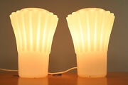 A Pair Doria Opal White Glass Bedside Lamps New Old Stock 1960and039s Mcm