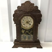 Antique Wood Carved Mantle Clock New Haven Clock Co Gold Pendulum W/key