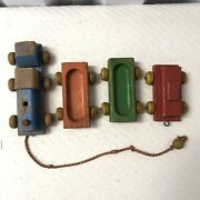 Vintage 1950s Playskool Train Set + Other Engine- Classic Toy Wood Shop Wooden