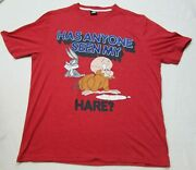 Loony Tunes Has Anyone Seen My Hare Red Printed T Shirt Tee Top Size Large