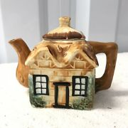 Small English Cottage Inspired Glazed Ceramic Lidded Teapot Branch Handle Spout