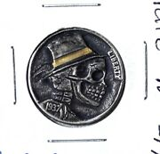 1937 Hobo Nickel Coin W/24k Gold Inlay Hand Carved Rare