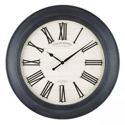 30 Black Sterling And Noble White Farmhouse Wall Clock With Raised Roman Numerals