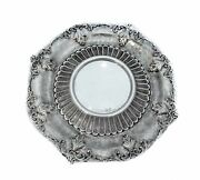 925 Sterling Silver Hand Chased Leaf Leg Appliques Fluted Round Plate Tray