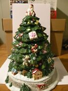 Spode Large Christmas Tree With Train Cookie Jar Hand Painted Center Piece Vhtf