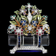 Dujay Pave Enamel Invisibly Set Sapphires Flowers Crystal Flower Basket Pin Clip