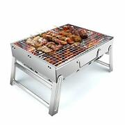 Stainless Steel Smoker Bbq Grill Charcoal Tabletop For Outdoor Camping Travel