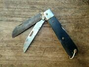 Collectible Rare 2 In 1 Bone And Steel Handle Locking Blade Folding Pocket Knife