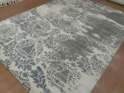 9and039x12and039 Rug   Modern Luxury Hand Knotted Bamboo Silk Gray Color Area Rug
