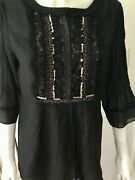 Elie Tahari Womens Black/beige Lace Leather Trim And Beading Tunic Top Small