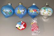 Lot Of 6 Vintage 1980andrsquos Snoopy Hallmark Christmas Ornaments Peanuts Glass