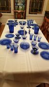 Blue Royal Lace Depression Glass 65 Piece Service For 4 Andnbsp