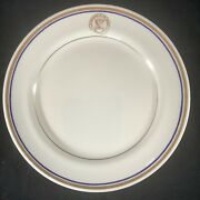 Vintage Shenango Department Of The Navy 9andrdquo Ceramic Plate Gold Blue Rim Made Usa