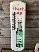 Vintage 7up Advertising Tin Thermometer 7up Sign