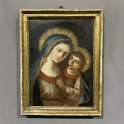 Antique Painting Oil On Canvas Madonna And Jesus Child Period Xvii C Art Holy