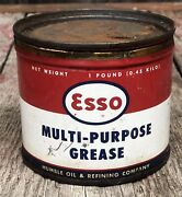 Vintage 1 Lb Esso Multi Purpose Grease Oil Can Gas Service Station Advertising