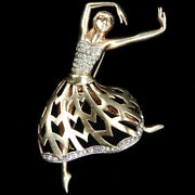 Mazer Sterling Gold Openwork And Pave Pirouetting Ballerina On Pointe Pin