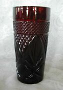 Collectible Vintage Tall Ruby Red Pressed Glass Tumbler - Made In France