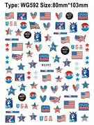 American Flag Eagle Heart Star Usa 4th Of July Butterfly Number 3d Nail Sticker