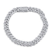 2.75 Ct Mens Natural Diamond Micro Pave Bracelet 8.5 Long 9mm In Silver