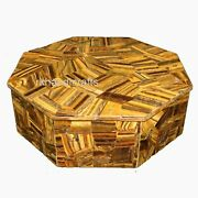 12 X 12 Inches Hand Made Accessories Box With Tiger Eye Stone Trinket Box