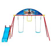 Kids Outdoor Activity Paw Patrol Swing Set Playset With Slide Trapeze 2 Swings