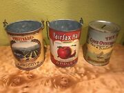 Vintage Label Graphics Food Cans With Wires For Hanging And A Piggy Bank