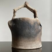 Geraldine Shapiro - Wood Fired Stoneware Vessel With Branch Handle Signed