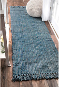 Nuloom Hand Woven Chunky Natural Jute Farmhouse Runner Rug 2and039 6 X 8and039 Blue