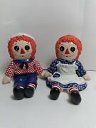 Raggedy Ann And Andy Unique Hand Painted Ceramic Book Ends Shelf Sitters Vintage