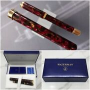 Brand New In Box Waterman Lady Agatha Rouge Fountain Pen With Case 18k Gold