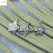 Pave Diamond Star Pendant 925 Sterling Silver Charm Gold Plated Jewelry Gift