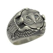 Airborne Us Army Parachutist American Eagle Sterling Silver 925 Biker Mens Ring