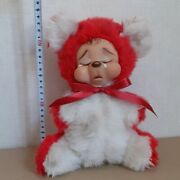 Vintage Rushton Rubber Face Plush Doll Crying Bear Tag H10 Inchsit Down