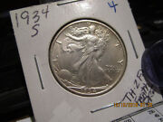 1934-s Walking Half Mint State +++++  Full Feathers On Chest