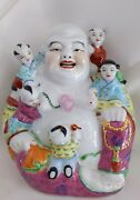 Vtg Chinese Famille Rose Porcelain Laughing Buddha With Five Children Joy Signed
