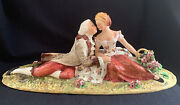 Vintage Rare Large 19 Signed Carlo Mollica Capodimonte Courting Couple, Italy