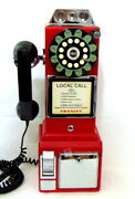 Crosley Retro Red Pay Phone Style Working Telephone And Coin Bank W/key Cr56-pl