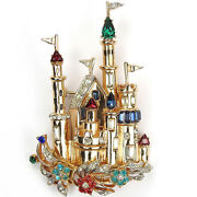 Coro Large Gold Muticolour Jewels And Flowers Fantasy Castle With Turrets Pin