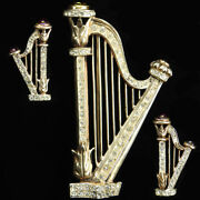 Gold Pave And Ruby Cabochons Sterling Irish Music Harp Pin And Earrings Set